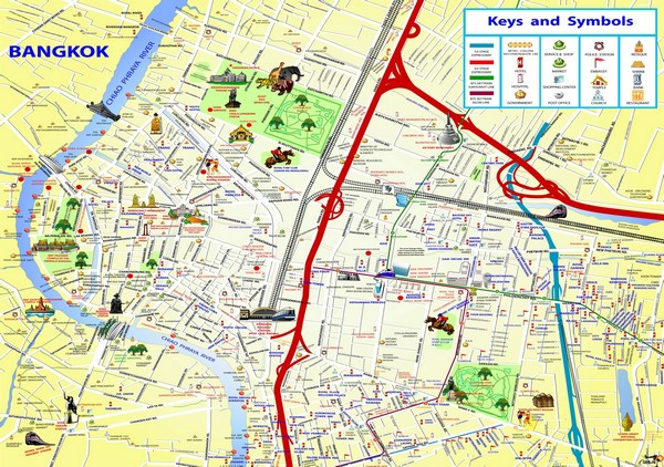 Карта Бангкока с достопримечательностями
