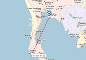 Расстояние от Пхукета до Паттайи на карте